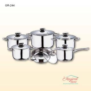 Set vase gătit inox cu capace sticlă 12 piese GR244 GRUNBERG
