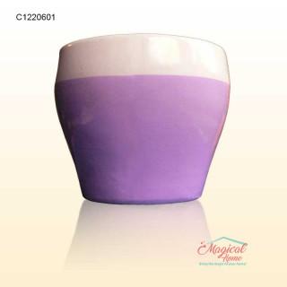 Masca ghiveci flori 8,5cm ceramic lila-crem