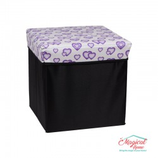 Cutie depozitare tip taburet, 30x30x30cm CD2-02 decor inimioare