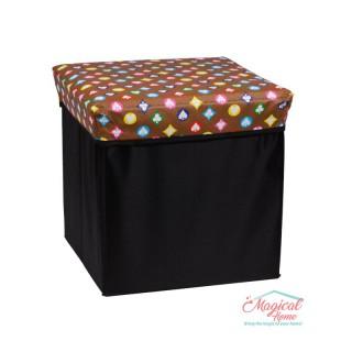 Cutie depozitare tip taburet, 30x30x30cm CD2-04 decor cărţi de joc