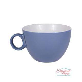 Bol supă, ceramic cu toartă decor bicolor BST-01INDIGO