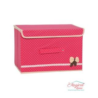 Cutie depozitare pliabilă 36x25x24cm roz cu buline CDC4-ROZ