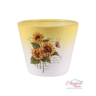 Mască ghiveci flori 13,5cm ceramică Floarea Soarelui