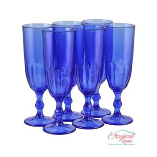 Set 6 pahare pentru şampanie, din sticlă, albastre3x220 ml