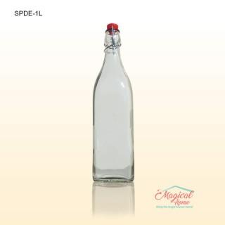 Sticlă profil patrat 1L cu dop ermetic