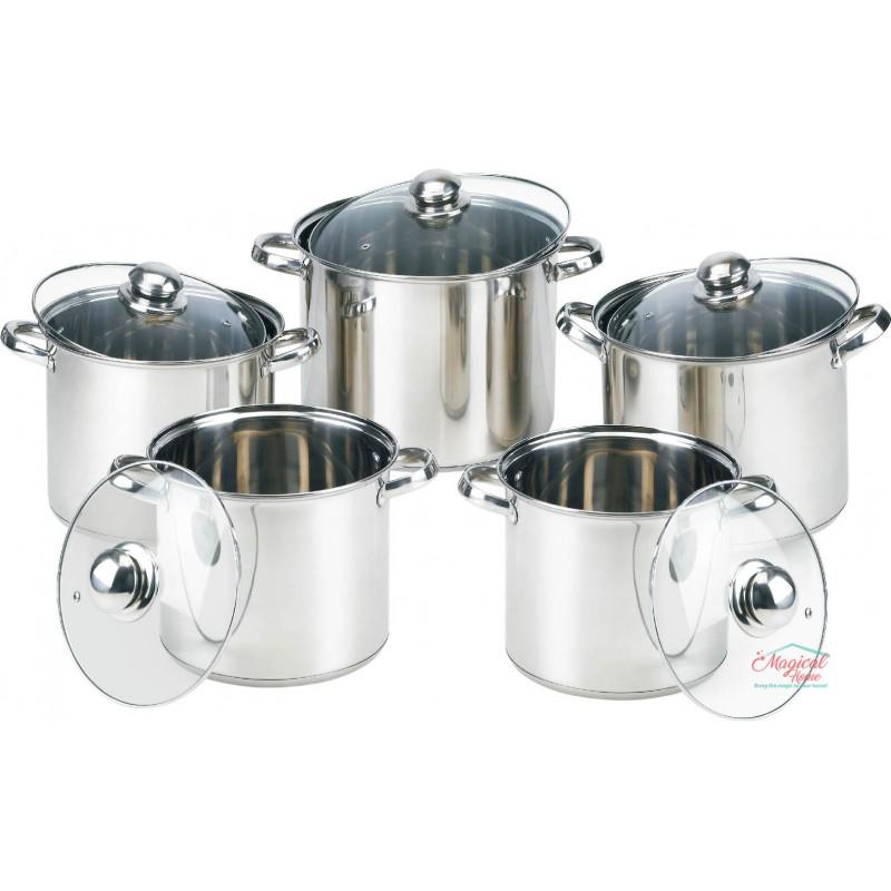 Set oale de gătit, inox, cu capace sticlă, 10 piese GR1053 GRUNBERG