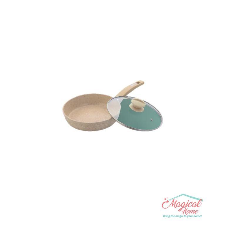 Tigaie aluminiu 24 cm interior ceramică 24 cm cu capac sticlă, Grunberg