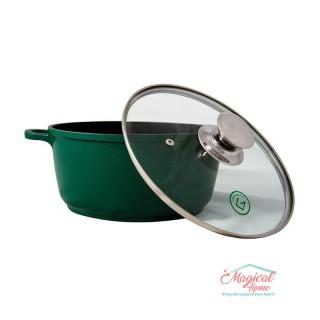Cratiţă tip tuci din aluminiu GR9030 Grunberg interior teflon 30cm verde