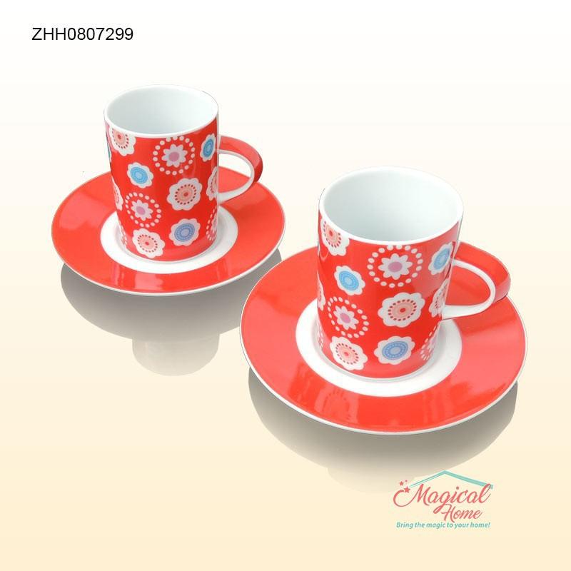 Set cafea ceramica 2 persoane decor floral ZHH0807299