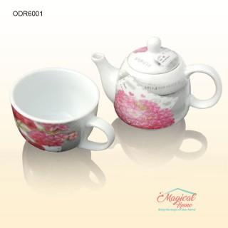 Mai multe despre Set pentru ceai 1 persoană cu 2 piese ceramică 6001C decor liliac