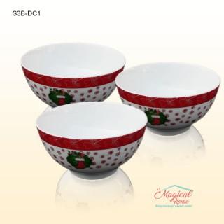 Set 3 boluri ceramice decor Crăciun S3B-DC1