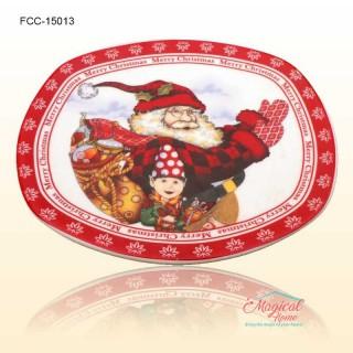 Farfurie ceramică întinsă decor Crăciun 15013